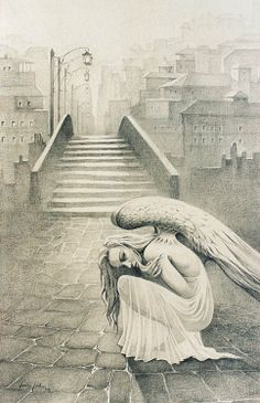 "Giannis Nikou, ""Angel at the far end of the city"", 115X175cm, pencil on paper, 2003"
