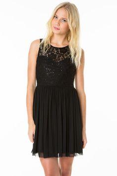 Black Sequin & Lace Skater Dress