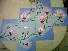 Pintura al óleo, estilo mosaico  Flores de mi casa