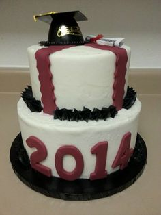 Maroon & Black Graduation Cake Vanilla Buttercream frosting with fondant accents