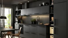 New kitchen ikea kungsbacka black ideas Black Kitchen Cabinets, Kitchen Cabinet Colors, Painting Kitchen Cabinets, Black Kitchens, Kitchen Colors, Kitchen Black, Kitchen Worktops, Kitchen Walls, Grey Cabinets