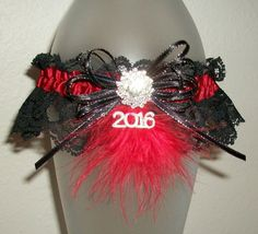 Red and Black Lace Feathers Sparkles and Rhinestones Prom 2016 or Wedding Garter
