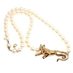 CARTIER Yellow Gold Panther Pearl Necklace