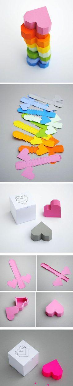 boite origami à réaliser à partir de patron boite en papier, petites boites à bonbons en forme de coeur
