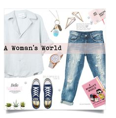"""A Woman's World"" by linkfari ❤ liked on Polyvore featuring Sans Souci, Olympia Le-Tan, Converse and Disney"