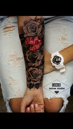 Roses & Pink Crystal Heart - Black and grey roses and a pretty pink crystal heart in the middle. This cute girls forearm sleeve - Trendy Tattoos, Sexy Tattoos, Cute Tattoos, Body Art Tattoos, Tattoos For Women, Half Sleeve Rose Tattoo, Tattoo Girls, Girl Tattoos, Tatoos