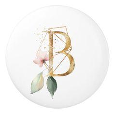 Floral Geometric Polygon Golden Letter B Ceramic Knob - floral style flower flowers stylish diy personalize Fancy Letters, Banner Letters, Diy Letters, Flower Background Wallpaper, Cute Wallpaper For Phone, Flower Backgrounds, Watercolor Lettering, Hand Lettering, Home Beauty Salon