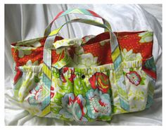 "Puffy Pockets Tote Bag Sewing Pattern & Tutorial    This tote pattern uses  three different shades fabrics.   Features six puffy outer pockets.    Tote Dimensions are approx. 17"" x 10"" x 5""       Easy to follow step by step instructions, with full color photos."