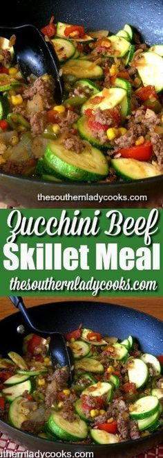 Zucchini beef skillet is one of my favorite ways to prepare this summer vegetable. I am always looking for new ways to use up zucchini and this zucchini beef skillet meal is fast and easy. … (healthy casserole recipes for diabetics) Healthy Beef Recipes, Hamburger Meat Recipes, Vegetable Recipes, Cooking Recipes, Easy Recipes, Recipes Dinner, Cheap Recipes, Meatloaf Recipes, Burger Recipes