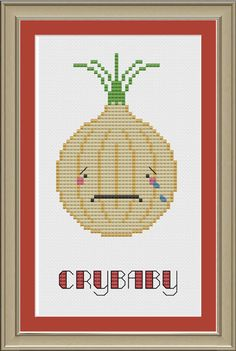 Crybaby funny onion crossstitch pattern by nerdylittlestitcher, $3.00