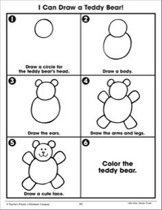 Draw a Teddy Bear: Following Directions (Practice Page)