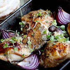 Greek chicken bake with tzatziki