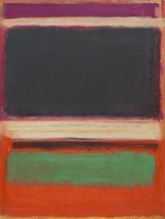 Magenta Black Green on Orange Mark Rothko Painting