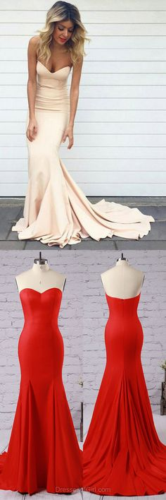 Trumpet/Mermaid Sweetheart Silk-like Satin Sweep Train Simple Prom Dresses