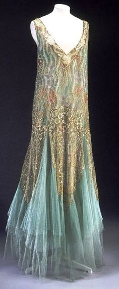 """1920s gown by Charles Frederick Worth It was a golden time for the demand for"""" luxury goods, including textiles and fashionable dress."""""""