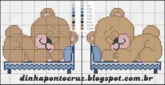 Dinha Ponto Cruz: Ursinhos baby para enxoval em ponto cruz