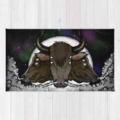 Evil Space Bulls Illustration 2x3 Area Throw Rug by PoeDesignscom, $33.00