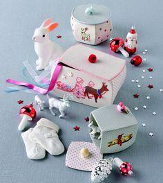 Fabriquer des boîtes recouvertes de tissu brodé / Embroidered cloth boxes