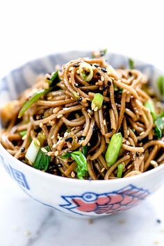 This Japanese Sesame Soba Noodles recipe makes a simple Asian side dish or easy main Japanese Soba Noodle Recipe, Japanese Soba Noodles, Cold Soba Noodle Recipe, Recipes With Japanese Noodles, Japanese Side Dish, Japanese Dishes, Japanese Food, Japanese Meals, Japanese Snacks