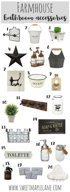 The ultimate list of farmhouse bathroom accessories to add a touch of rustic farmhouse style to any bathroom!