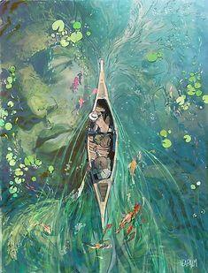 Fantasy art - Girl wading into the water Japan Illustration, Creative Illustration, Landscape Illustration, Watercolor Illustration, Fantasy Art Landscapes, Fantasy Landscape, Landscape Concept, Pretty Art, Cute Art