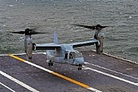 161004-N-YB023-091  ATLANTIC OCEAN (Oct. 4, 2016) An MV-22B Osprey assigned to the Blue Knights of Marine Medium Tiltrotor Squadron (VMM) 365 prepares to land on the flight deck of the aircraft carrier USS George Washington (CVN 73). George Washington, homeported in Norfolk, is underway in the Atlantic Ocean. (U.S. Navy photo by Petty Officer 3rd Class Clemente A. Lynch/Released)