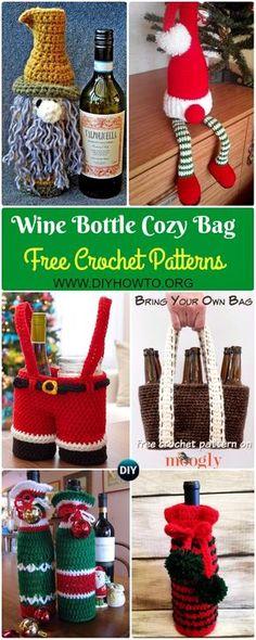 Crochet Wine Bottle Cozy Bag & Sack Free Patterns: Crochet Santa Pants Bottle Bag, Gnome Wine Bottle Cozy, Christmas Wine Gift, Holiday Wine Bottle Buddies