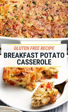 Make this Breakfast Potato Casserole for your next brunch potluck. It's loaded with eggs, bacon, cheese, potatoes and sautéed vegetables. Also gluten free! Breakfast Potluck, Breakfast Potato Casserole, Breakfast For A Crowd, Egg Recipes For Breakfast, Breakfast Potatoes, Savory Breakfast, Food For A Crowd, Overnight Breakfast, Best Breakfast