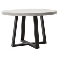 Maceo Modern Classic Round Composite Stone Metal Dining Table - 48 inch | Kathy Kuo Home