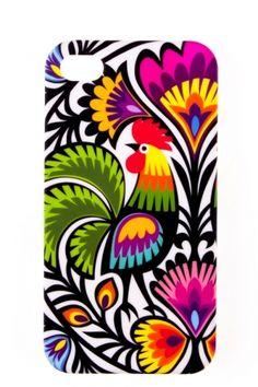 Etui na iPhone 4 białe FOLK BIRDS - tradycyjna wycinanka łowicka - kogut, folk, etui folk