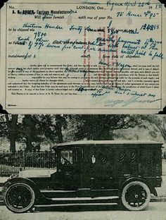 funeral car and the original bill of sale, from 1912! first funeral car in Saskatchewan!