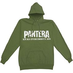 Pantera Men's Kicks Everybody's Ass Hooded Sweatshirt Green - http://bandshirts.org/product/pantera-mens-kicks-everybodys-ass-hooded-sweatshirt-green/