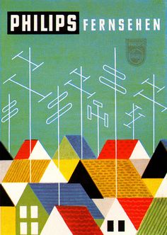 Roof tops and Aerials - illustration/design by Horst Quietmeyer. From Gebrauchsgraphik 8, 1955.