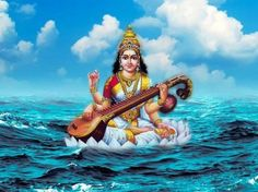 Shiva of water song Jai Maa Saraswati, Saraswati Goddess, Krishna Hindu, Goddess Art, Hare Krishna, Hindu Festivals, Indian Festivals, Twitter Image, Lord Krishna Images