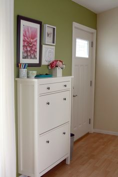 She has this shoe storage in her entry, but I'd like it at the back of the master bedroom closet. It's the Hemnes Shoe Cabinet for $139 @ Ikea.