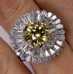 "GIA 4.50ctw A Breathtaking Circa 1950s Estate ""BALLERINA"" w/ Fancy Deep Yellow Round Brilliant, White Baguettes Diamond Ring"