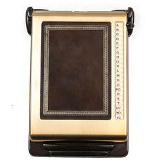 Vintage Bates List Finder Desk Top Phone Address Book Brown Retro Gold