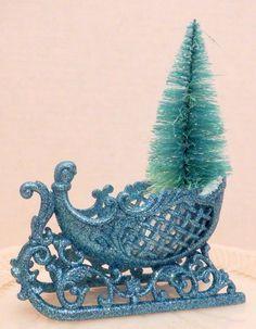 Vintage Style Bottle Brush Tree in Glitter Sleigh Table Display, Decor, Ornament