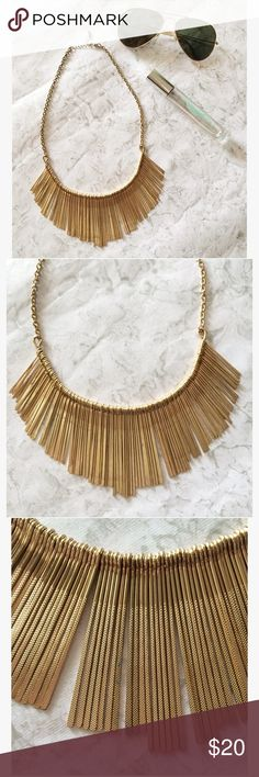 """🆕 Gold Fringe Necklace A golden fringe necklace, with textured matchstick fringe. Bib necklace fit, with adjustable length. Condition: gently pre-loved. Very minor discoloration on one side (the """"back"""") and back of the chain. Very similar to a matchstick bib necklace sold at Anthropologie! Considering ALL offers on makeup and jewelry bundles! Feel free to """"lowball."""" Jewelry Necklaces"""