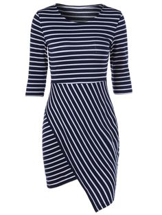 Color Block Striped Bodycon Irregular Dress, WHITE/BLACK, M in Bodycon Dresses | DressLily.com