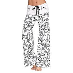 Sunenjoy Pantalon Femme Pantalon Ample Palazzo Jambe Large de Sport Lâche  Fitness Jogging Yoga Été Chic f9058dd71bf