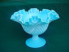 Quality Careful Vintage Fenton Silver Crest Milk Glass Footed Crimped Ruffle Edge Bowl Dish Superior In