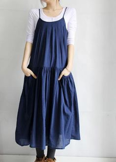 pleated Big pockets Put on a large gallus dress by MaLieb on Etsy, $69.00