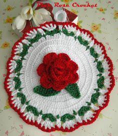 PINK ROSE CROCHET /: Pega Panelas Branco com Flor Vermelha
