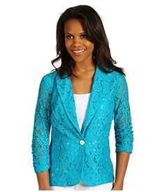 Karen Kane Womens Shirred Sleeve Lace Jacket Azure Small >>> Click on the image for additional details.