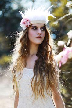 White feather headband Rouge Pony Rouge Pony Flower Crowns Feather Headdress  wedding inspiration style inspiration inspiration found and beautiful