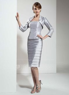 Sheath/Column Strapless Knee-Length Taffeta Mother of the Bride Dress With Beading (008005612) - JJsHouse