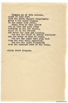Typewriter Series #918 by Tyler Knott Gregson *It's official, my book, Chasers of the Light, is out! You can order it through Amazon, Barnes and Noble, IndieBound , Books-A-Million , Paper Source or...