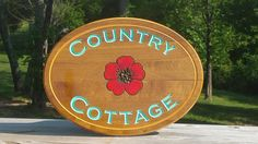 Wood Country Cottage Poppy Plaque with Carved, Hand Painted Details