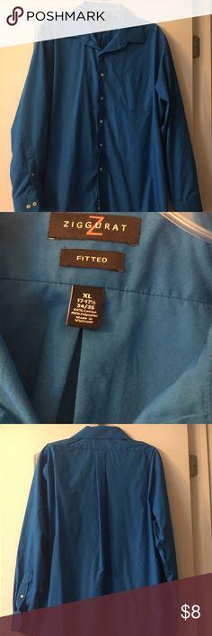 Blue Button Down Shirt Blue Ziggurat fitted dress shirt. Size XL (17-17 1/2, 34/35). Ziggurat Shirts Dress Shirts